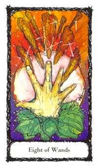 Eight of Rods Tarot Card - Sacred Rose Tarot Deck