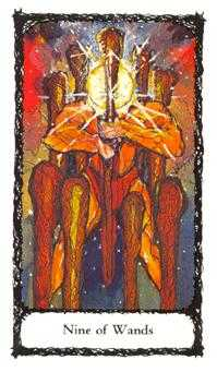 Nine of Batons Tarot Card - Sacred Rose Tarot Deck