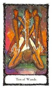 Ten of Rods Tarot Card - Sacred Rose Tarot Deck