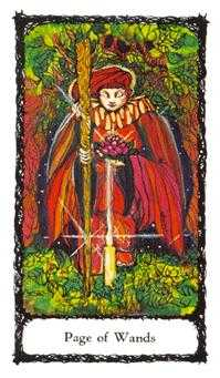 Page of Rods Tarot Card - Sacred Rose Tarot Deck