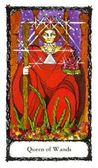 Reine of Wands Tarot Card - Sacred Rose Tarot Deck