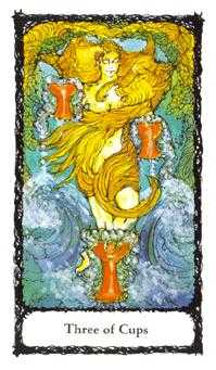 Three of Ghosts Tarot Card - Sacred Rose Tarot Deck