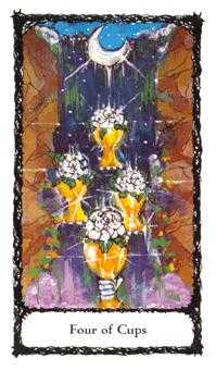 Four of Ghosts Tarot Card - Sacred Rose Tarot Deck