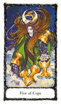 Five of Ghosts Tarot Card - Sacred Rose Tarot Deck