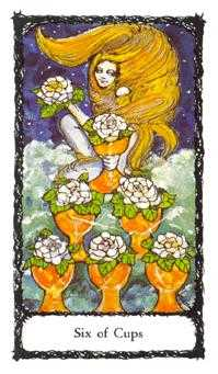 Six of Bowls Tarot Card - Sacred Rose Tarot Deck