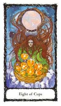 Eight of Ghosts Tarot Card - Sacred Rose Tarot Deck
