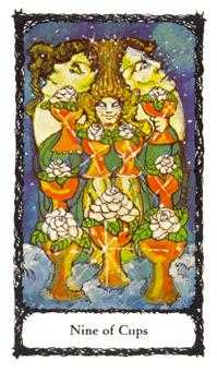 Nine of Bowls Tarot Card - Sacred Rose Tarot Deck