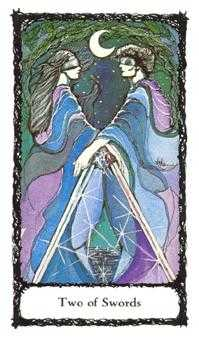 Two of Spades Tarot Card - Sacred Rose Tarot Deck