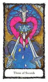 Three of Spades Tarot Card - Sacred Rose Tarot Deck