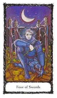 Four of Bats Tarot Card - Sacred Rose Tarot Deck