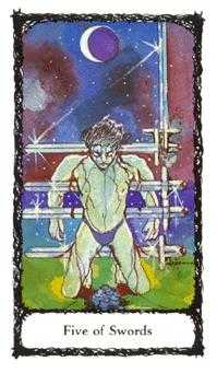 Five of Rainbows Tarot Card - Sacred Rose Tarot Deck