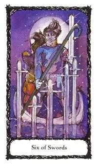 Six of Bats Tarot Card - Sacred Rose Tarot Deck
