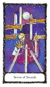 Seven of Bats Tarot Card - Sacred Rose Tarot Deck