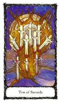 Ten of Arrows Tarot Card - Sacred Rose Tarot Deck