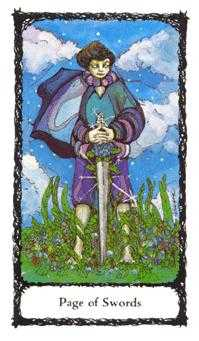 Page of Spades Tarot Card - Sacred Rose Tarot Deck