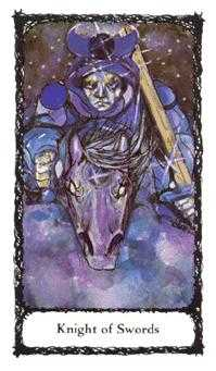 Knight of Spades Tarot Card - Sacred Rose Tarot Deck