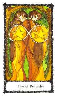 Two of Discs Tarot Card - Sacred Rose Tarot Deck