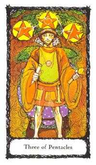 Three of Pentacles Tarot Card - Sacred Rose Tarot Deck