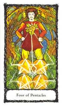 Four of Pentacles Tarot Card - Sacred Rose Tarot Deck
