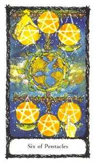 Six of Pentacles Tarot Card - Sacred Rose Tarot Deck