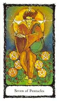 Seven of Discs Tarot Card - Sacred Rose Tarot Deck