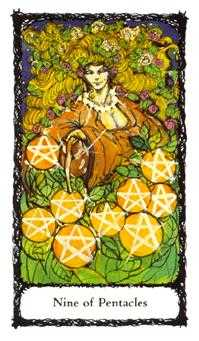Nine of Coins Tarot Card - Sacred Rose Tarot Deck