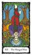 The Hanged Man Tarot card in Sacred Rose deck