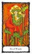 Six of Wands Tarot card in Sacred Rose deck