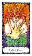 Eight of Wands Tarot card in Sacred Rose Tarot deck