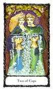 Two of Cups Tarot card in Sacred Rose deck