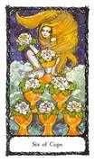 Six of Cups Tarot card in Sacred Rose deck