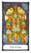 Nine of Cups Tarot card in Sacred Rose Tarot deck