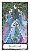 Two of Swords Tarot card in Sacred Rose deck