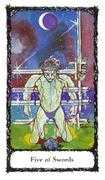 Five of Swords Tarot card in Sacred Rose deck