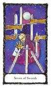 Seven of Swords Tarot card in Sacred Rose deck
