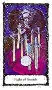 Eight of Swords Tarot card in Sacred Rose deck