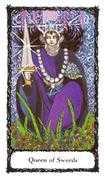 Queen of Swords Tarot card in Sacred Rose deck