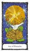 Ace of Pentacles Tarot card in Sacred Rose deck