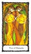 Two of Pentacles Tarot card in Sacred Rose deck
