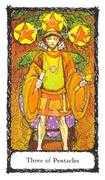 Three of Pentacles Tarot card in Sacred Rose deck