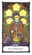 Five of Pentacles Tarot card in Sacred Rose deck