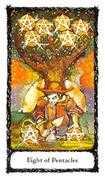 Eight of Pentacles Tarot card in Sacred Rose Tarot deck