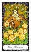 Nine of Pentacles Tarot card in Sacred Rose Tarot deck