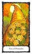 Ten of Pentacles Tarot card in Sacred Rose Tarot deck