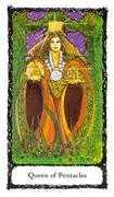 Queen of Pentacles Tarot card in Sacred Rose deck