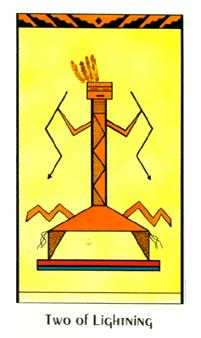 Two of Batons Tarot Card - Santa Fe Tarot Deck