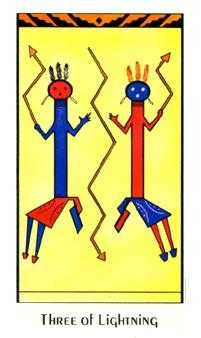 Three of Lightening Tarot Card - Santa Fe Tarot Deck