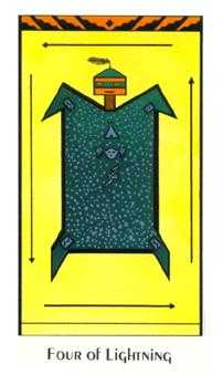 Four of Staves Tarot Card - Santa Fe Tarot Deck