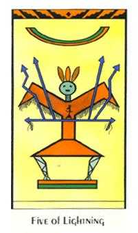 Five of Lightening Tarot Card - Santa Fe Tarot Deck