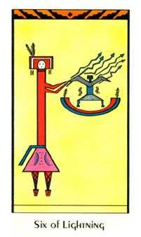 Six of Pipes Tarot Card - Santa Fe Tarot Deck